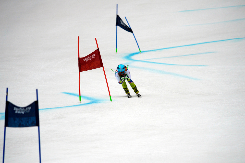 Description of . Slovenia's Katrina Lavtar competes during the first round of the ladies' giant slalom. Sochi 2014 Winter Olympics on Tuesday, February 18, 2014. (Photo by AAron Ontiveroz/The Denver Post)