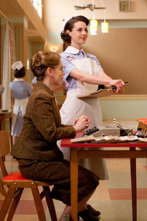. Shelagh (Laura Main) and Jenny Lee (Jessica Raine) at the community centre (Photo by Laurence Cendrowicz)