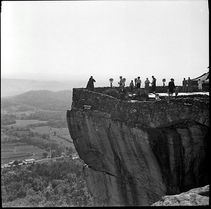 Lovers Leep, at Rock City in the 1950's.   Down below is where Chattanooga is today but back then mostly countryside.