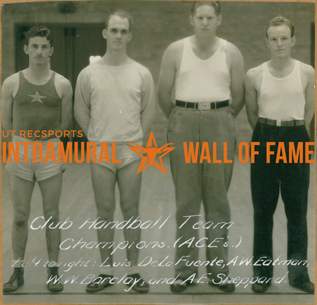 HANDBALL Club Team Champions  A. C. E.'s  Luis De La Fuente, A. W. Eatman, W. W. Barclay, A. E. Sheppard