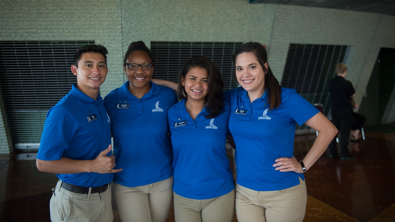 Orientation Leaders Trey Lopez (left), Cidnee Le'sure, Jasmine Lopez, Aissa Garza, prepare to meet all of the new Islanders during New Student Orientation in the Performing Arts Center.