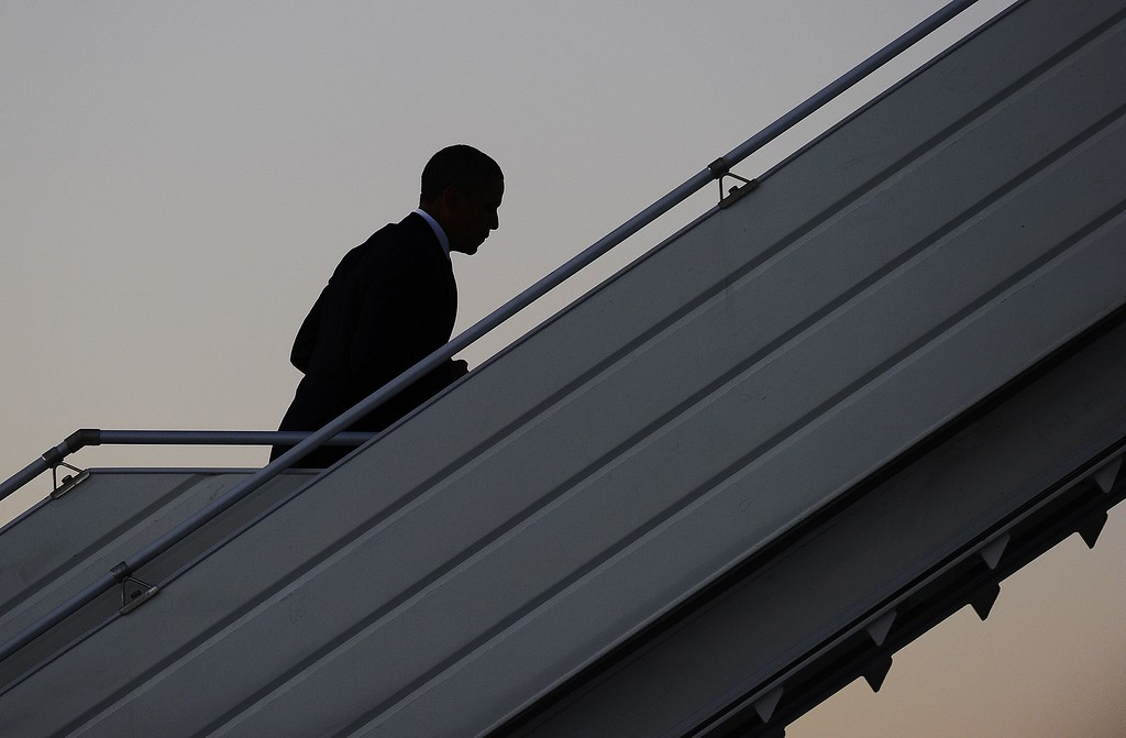 . US President Barack Obama boards Air Force One at Pulkovo International Airport in Saint Petersburg on September 6, 2013, leaving for Washington, DC, after attending the G20 summit. World leaders at the G20 summit on Friday failed to bridge their bitter divisions over US plans for military action against the Syrian regime, with Washington signalling that it has given up on securing Russia\'s support at the UN on the crisis. JEWEL SAMAD/AFP/Getty Images