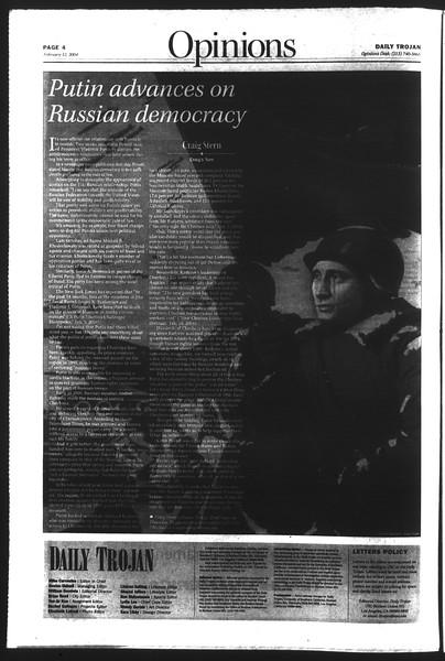 Daily Trojan, Vol. 151, No. 21, February 12, 2004