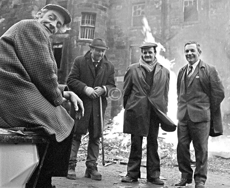 Remarkably, I have been given names for all of these gents - Jimmy Spencer seated, Tony Drummond with the walking stick, John Hill, and Bertie Alphonsus Clark (aka the Gallagate Yankee). Thanks to the good people at http://urbanglasgow.co.uk/