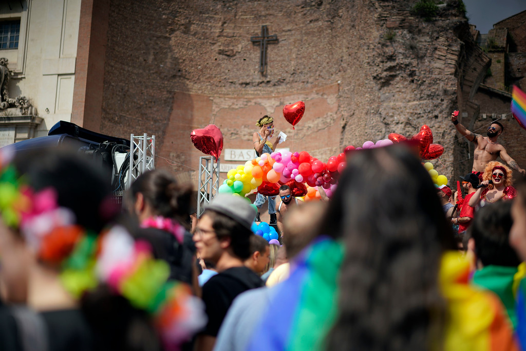 . People take part in the annual Gay Pride parade, in Rome, Saturday, June 9, 2018. (AP Photo/Andrew Medichini)