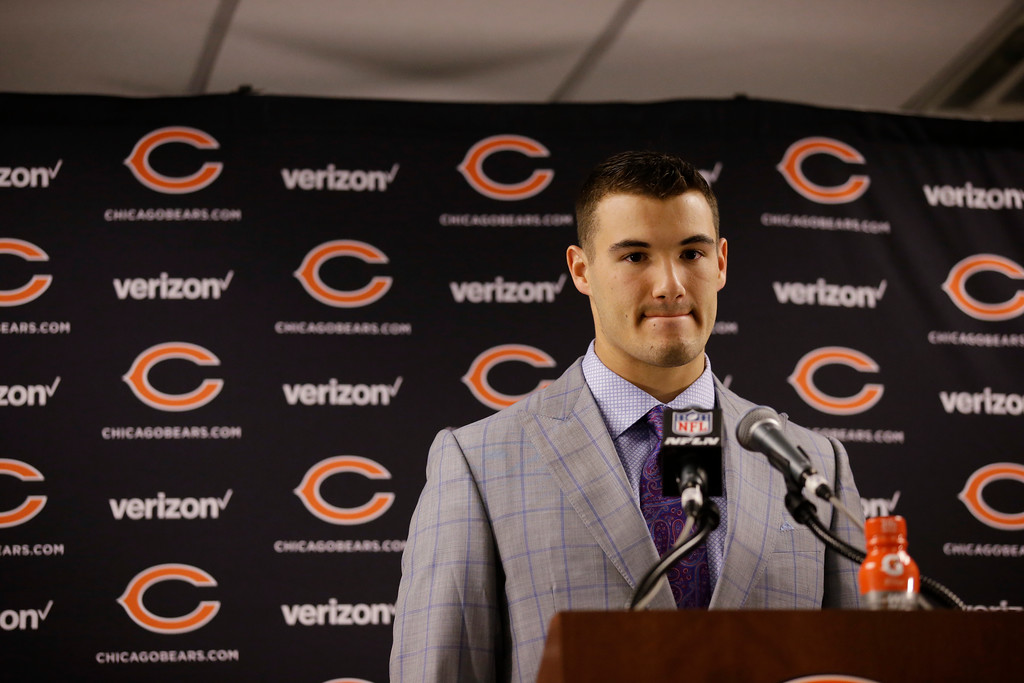 . Chicago Bears quarterback Mitchell Trubisky talks during a news conference after an NFL football game against the San Francisco 49ers, Sunday, Dec. 3, 2017, in Chicago. (AP Photo/Nam Y. Huh)