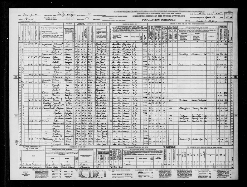 1940 census Peter Toole family Bronx NY.jpg