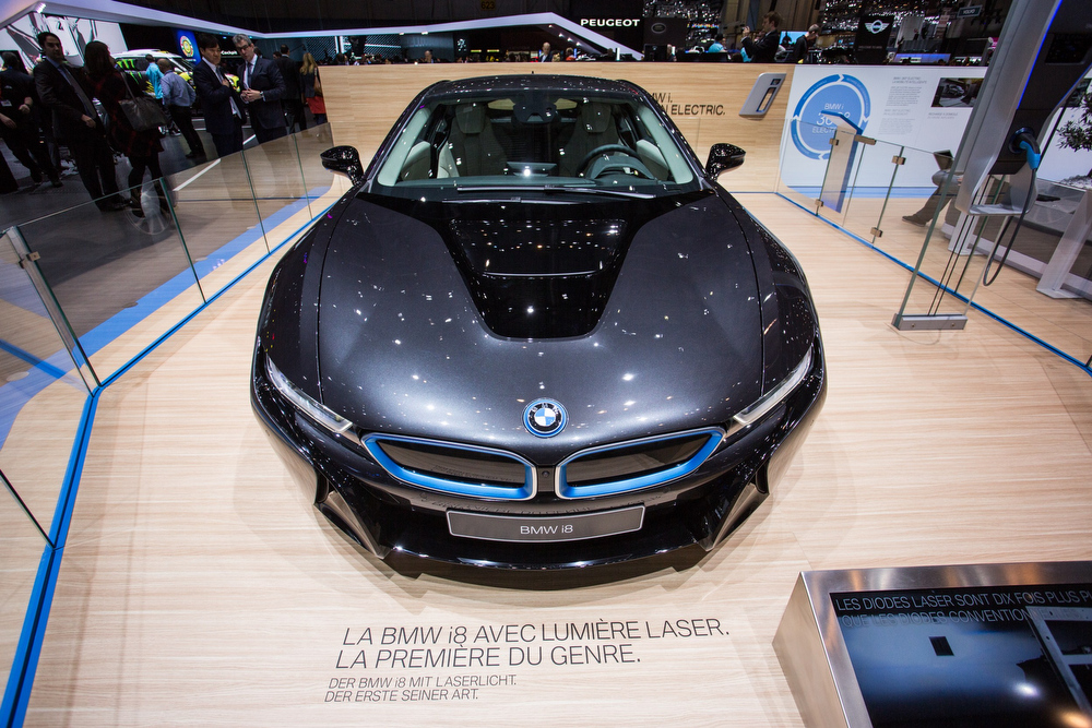 Description of . A view of a BMZi8 electric car model on display at the BMW stand of the Geneva Motor Show, on March 4, 2014, in Geneva. AFP PHOTO / PIERRE ALBOUYPIERRE ALBOUY/AFP/Getty Images
