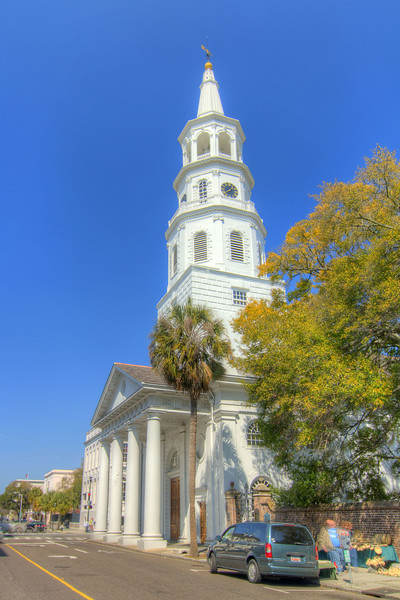 St. Michael's Episcopal Church, built in 1761, is the city's oldest church building located at 80 Meeting Street in downtown Charleston, SC on Saturday, March 9, 2013. Copyright 2013 Jason Barnette