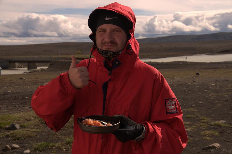Mateusz savoring the fish