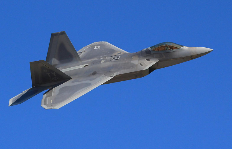 F-22 Raptor showing the surface finishes that make up a stealth design. This was a close pass, so click on original size to see more detail. An aircraft's RCS (Radar Cross Section) is its equivalent size on radar. On radar, an F-22 shows up about the size of a marble!