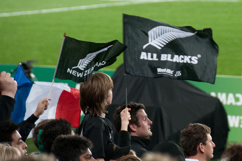Flags waving at the 2011 Rugby World Cup Final in New Zealand