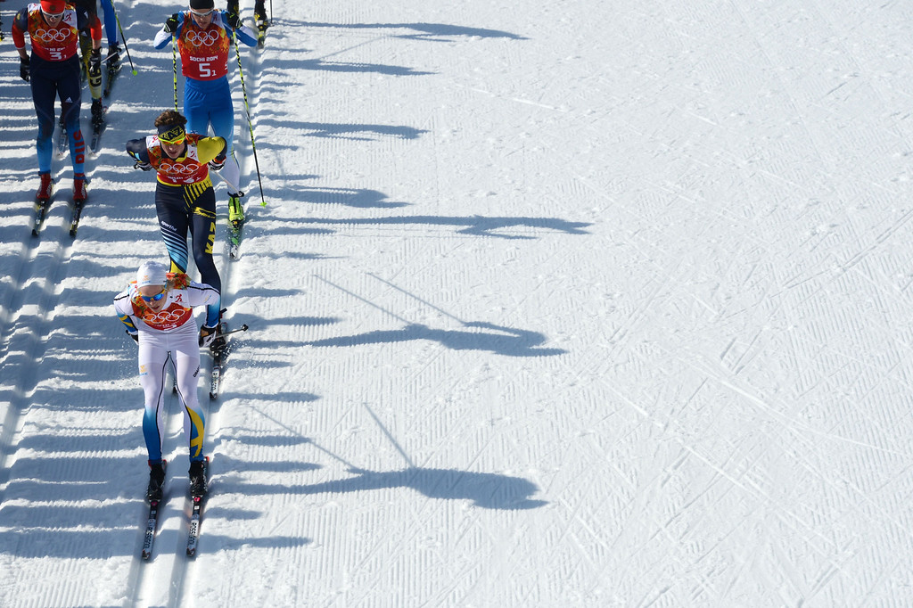 . Sweden\'s Lars Nelson (bottom) competes in the Men\'s Cross-Country Skiing 4 x 10km Relay at the Laura Cross-Country Ski and Biathlon Center during the Sochi Winter Olympics on February 16, 2014 in Rosa Khutor near Sochi. KIRILL KUDRYAVTSEV/AFP/Getty Images