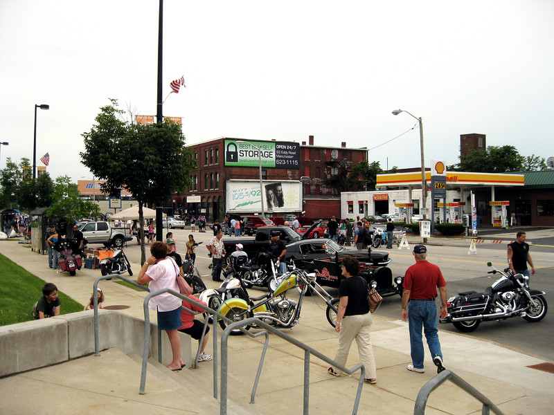 There was a motorcycle and classic car show block party before the game.