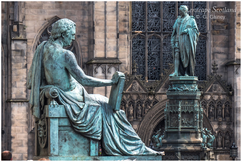 David Hume and 5th Duke of Buccleuch statues, High Street