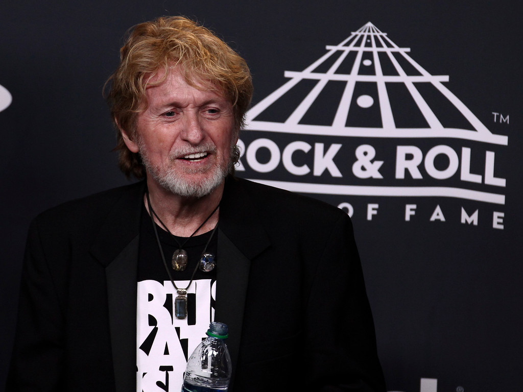 . Jon Anderson of the band Yes poses in the 2017 Rock and Roll Hall of Fame induction ceremony press room at the Barclays Center on Friday, April 7, 2017, in New York. (Photo by Andy Kropa/Invision/AP)