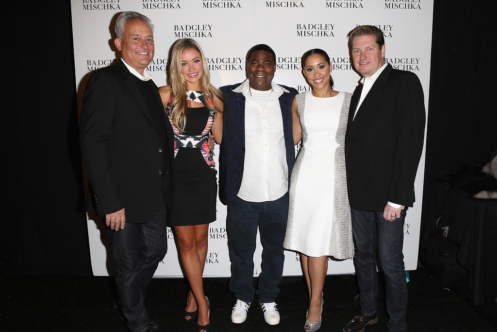. (L-R) Mark Badgley, Katrina Bowden, Tracy Morgan, Megan Wollover and James Mischka pose backstage at the Badgley Mischka fashion show during Mercedes-Benz Fashion Week Fall 2014 at The Theatre at Lincoln Center on February 11, 2014 in New York City.  (Photo by Chelsea Lauren/Getty Images for Mercedes-Benz Fashion Week)