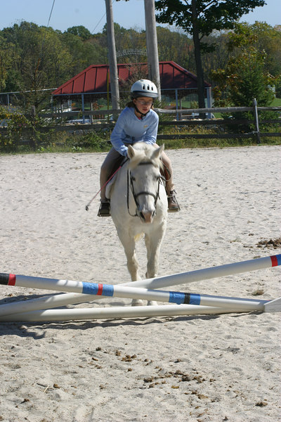 Nina and Snowy at the cross rails.  Snowy is a little hesitant at jumping.