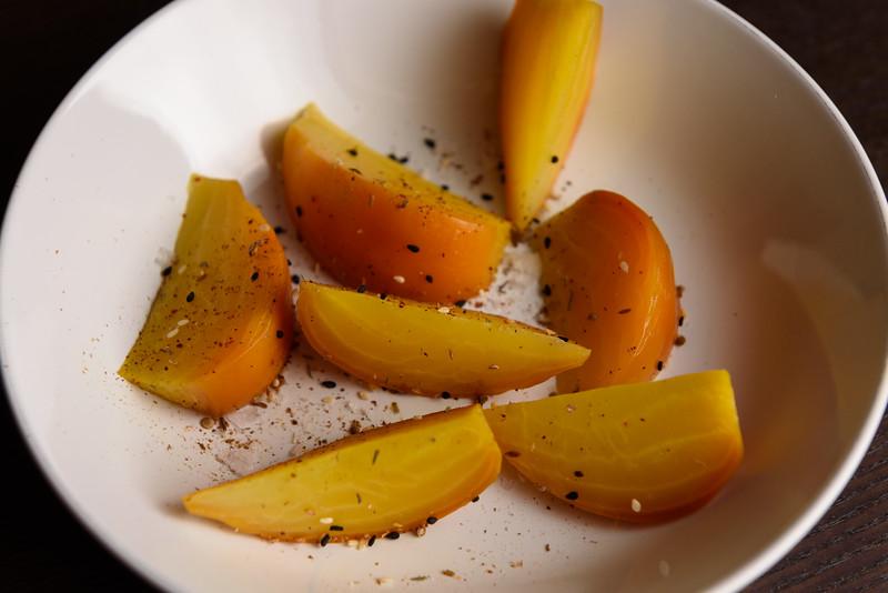 golden beets with dukkah