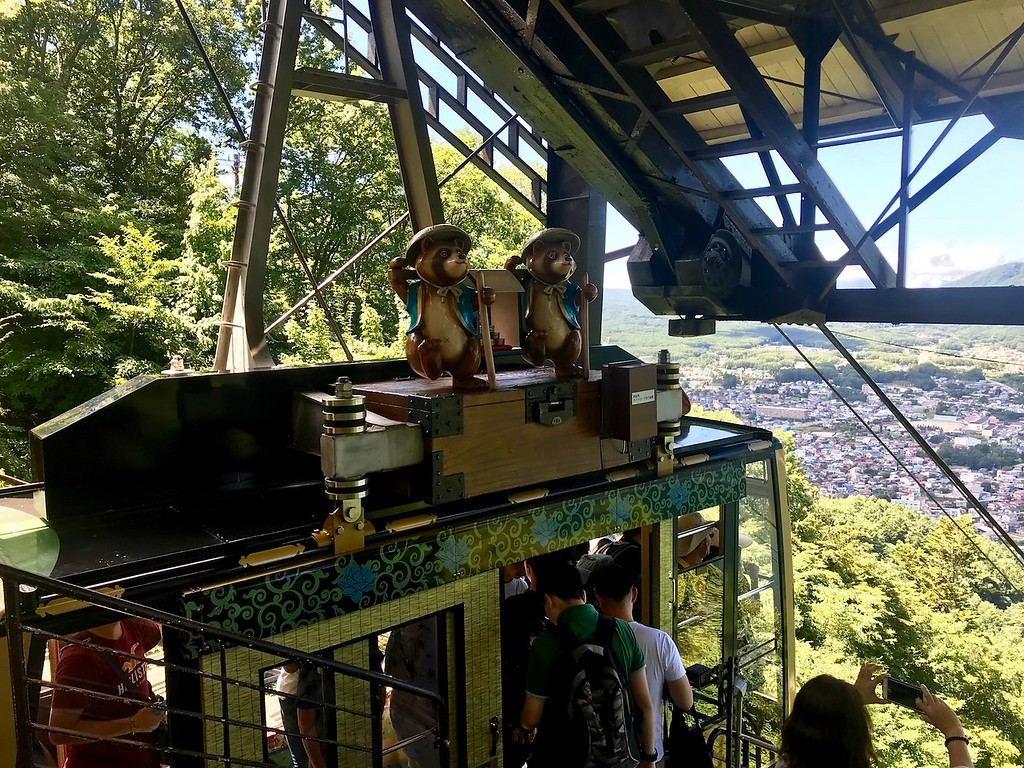 Tanuki, or raccoon dogs, on top of the cable car.