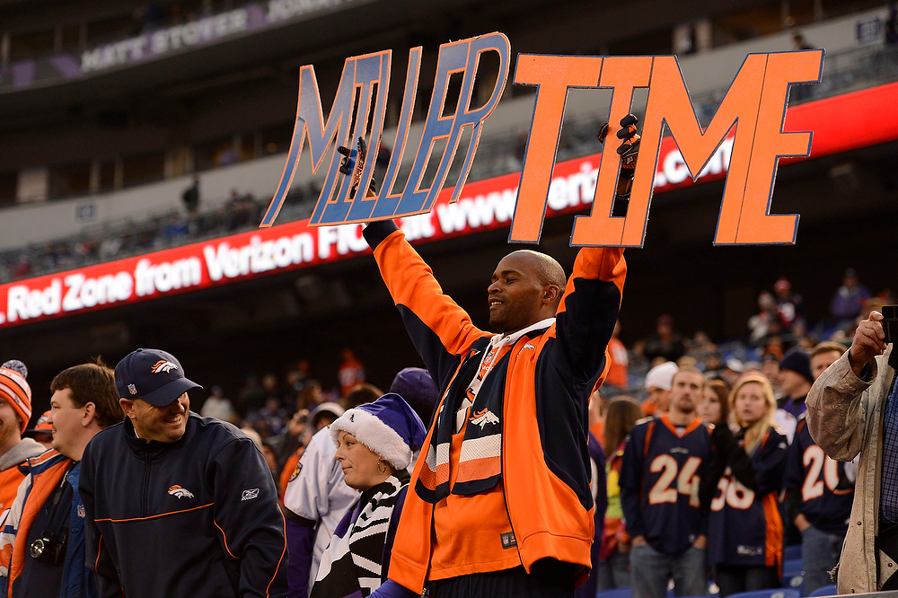 Description of . Broncos fan holds up his sign for Denver Broncos outside linebacker Von Miller (58) after their win over the Baltimore Ravens Sunday, December 16, 2012 at M&T Bank Stadium. John Leyba, The Denver Post