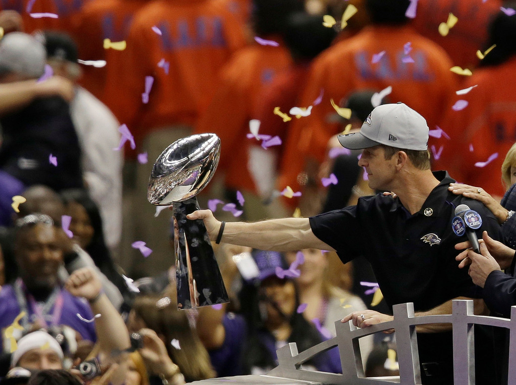 . Baltimore Ravens head coach John Harbaugh holds the Vince Lombardi Trophy as he celebrates after the NFL Super Bowl XLVII football game against the San Francisco 49ers, Sunday, Feb. 3, 2013, in New Orleans. The Ravens won 34-31. (AP Photo/Gerald Herbert)
