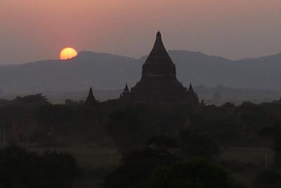 The sun slipping from the sky in Bagan, Burma (Myanmar)