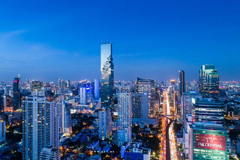Twilight at Mahanakhon and the cityscape of Bangkok