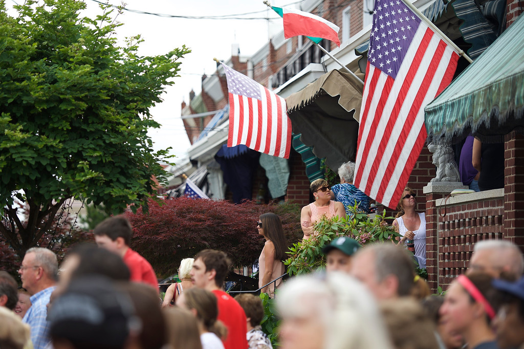 . Onlookers gather across the street before the hearse and Biden family arrive for a mass of Christian burial at St. Anthony of Padua Church for former Delaware Attorney General Beau Biden, on June 6, 2015 in Wilmington, Delaware. U.S. President Barack Obama is expected to deliver a eulogy for the son of Vice President Joe Biden after he died at 46 following a two-year battle with brain cancer.  (Photo by Mark Makela/Getty Images)