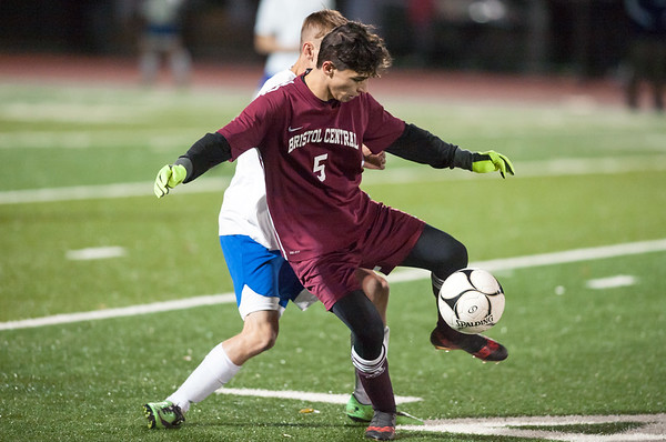 10/29/18 Wesley Bunnell | Staff Bristol Central boys soccer vs Bristol Eastern on Monday night in a game played at Bristol Central High School. Central's Diego Naranjo (5).