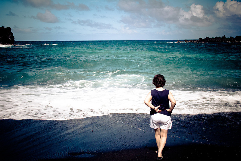 road to hana black sand beach mom 2.jpg