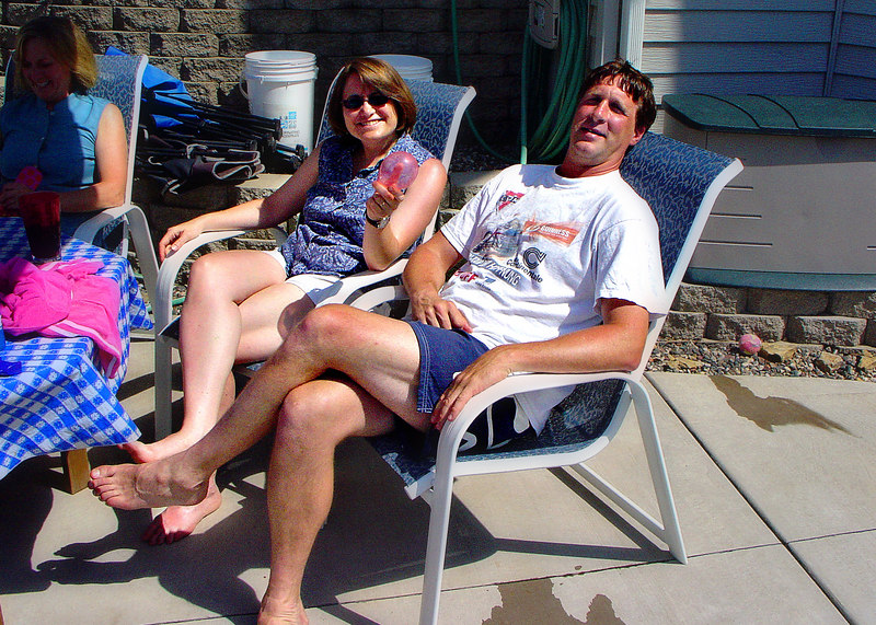 Shelly with Norm, poolside.