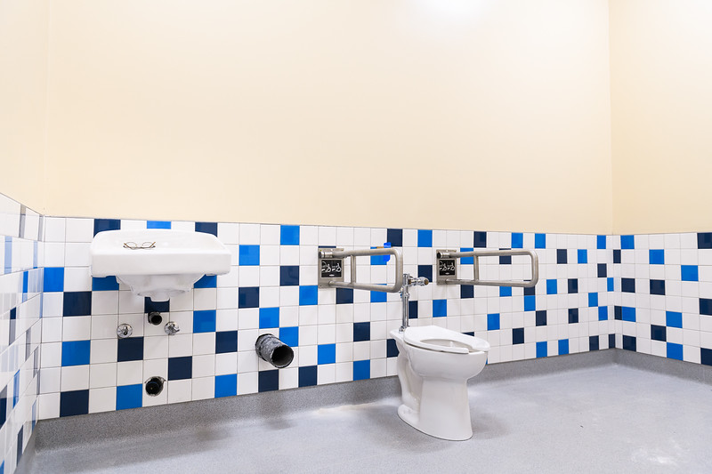 New bathroom tiling in Gubser Elementary, under construction on Friday, August 16, 2019, in Keizer, Ore.