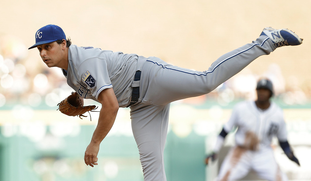 . Kansas City Royals pitcher Jason Vargas throws against the Detroit Tigers in the first inning of a baseball game in Detroit, Monday, June 16, 2014.  (AP Photo/Paul Sancya)