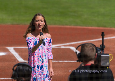 Dani Morales sings at Baseball Game