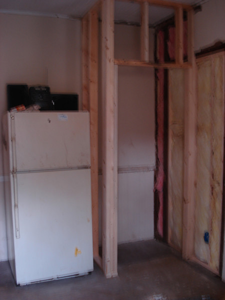 A pantry framed in. ck