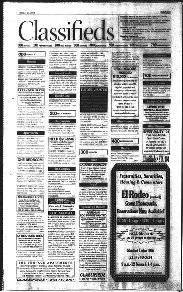 Daily Trojan, Vol. 150, No. 37, October 17, 2003