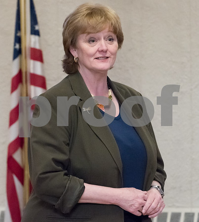 03/15/18 Wesley Bunnell   Staff Candidate for Attorney General Clare Kindall speaks at the Pulaski Club on Thursday evening as she along with other Democratic candidates for state office met with the Democratic Town Committee as well as New Britain residents.