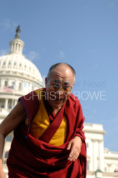 His Holiness The Dalai Lama  speaks on the  west lawn of the Capitol on the topic of world peace.