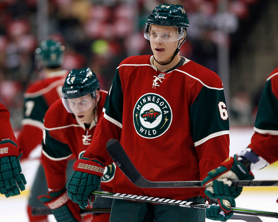 . Minnesota Wild center Mikael Granlund (64) skates through warm-ups with teammate Mikko Koivu (background) before the start of the Wild\'s NHL hockey game against the Colorado Avalanche in St. Paul, Minnesota, January 19, 2013. REUTERS/Eric Miller