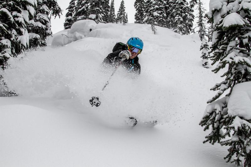 Logan just skiing pow