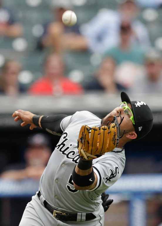 . Chicago White Sox\'s Yolmer Sanchez catches a ball hit by Cleveland Indians\' Jose Ramirez in the seventh inning of a baseball game, Wednesday, May 30, 2018, in Cleveland. Ramirez was out on the play. (AP Photo/Tony Dejak)