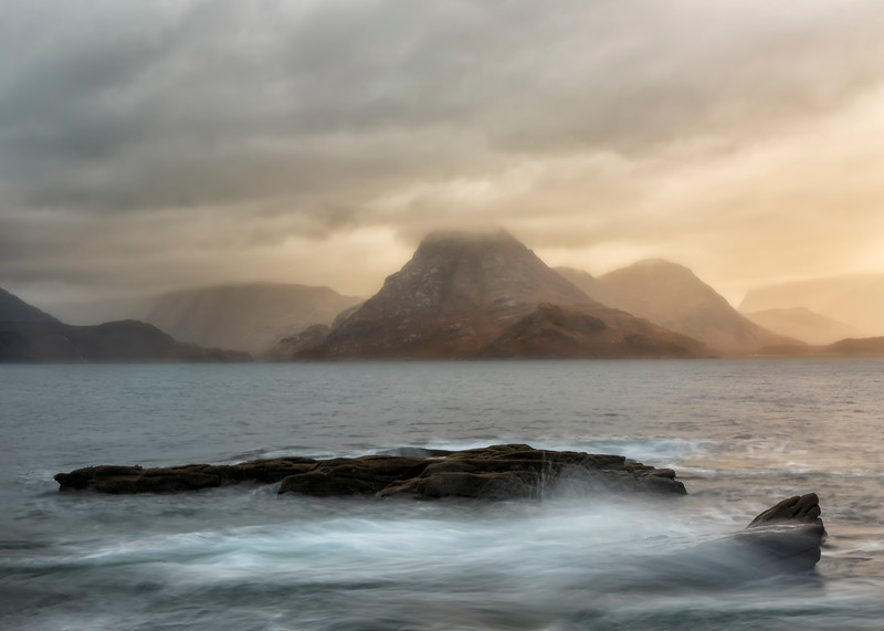 Storm approacing Loch Scavaig and the Cuillins mountains