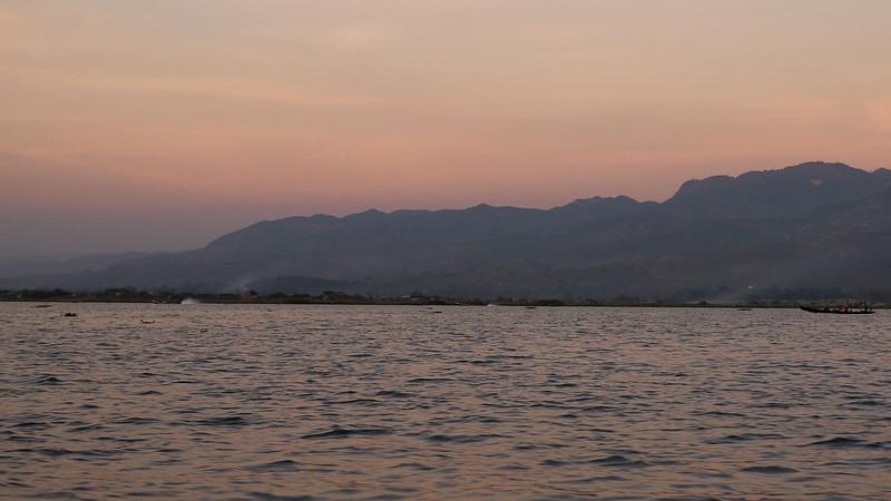 Sunset over the mountains around Inle Lake, Burma (Myanmar).