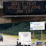It's a good thing the new law takes effect soon.  Reading text while driving is very distracting.