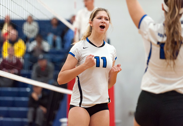 Southington girls volleyball was defeated 15-10 in the 5th set by Farmington in a 2nd round CCC Tournament game on last season at Southington High School. Veronica Gorski (11). Wesley Bunnell | Staff