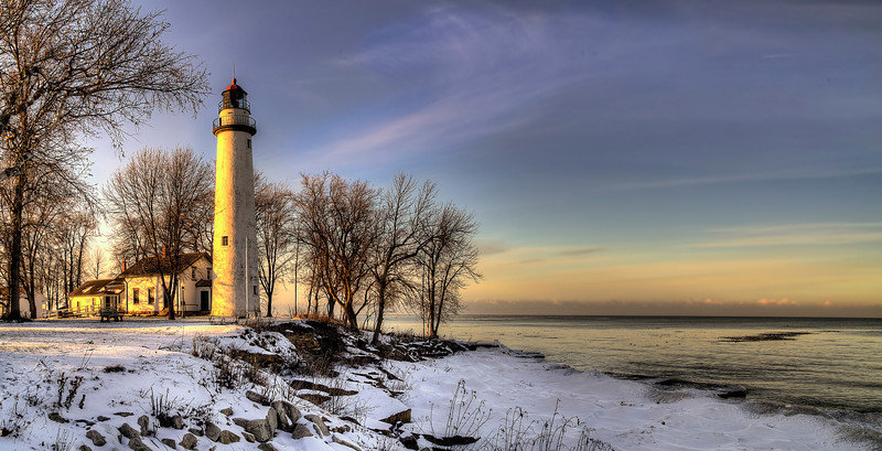 Point Aux Barques Lighthouse Winter Sunset