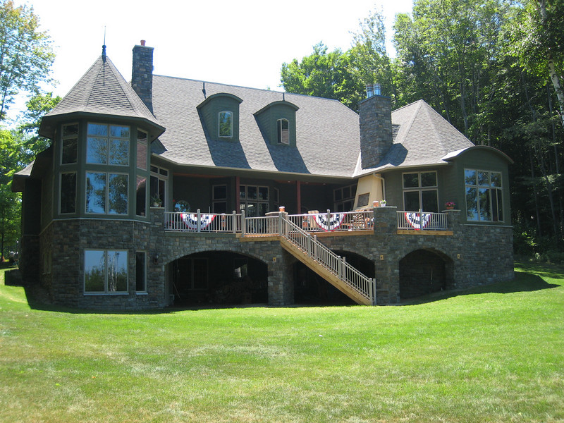 Back of house; deck faces Lake Michigan
