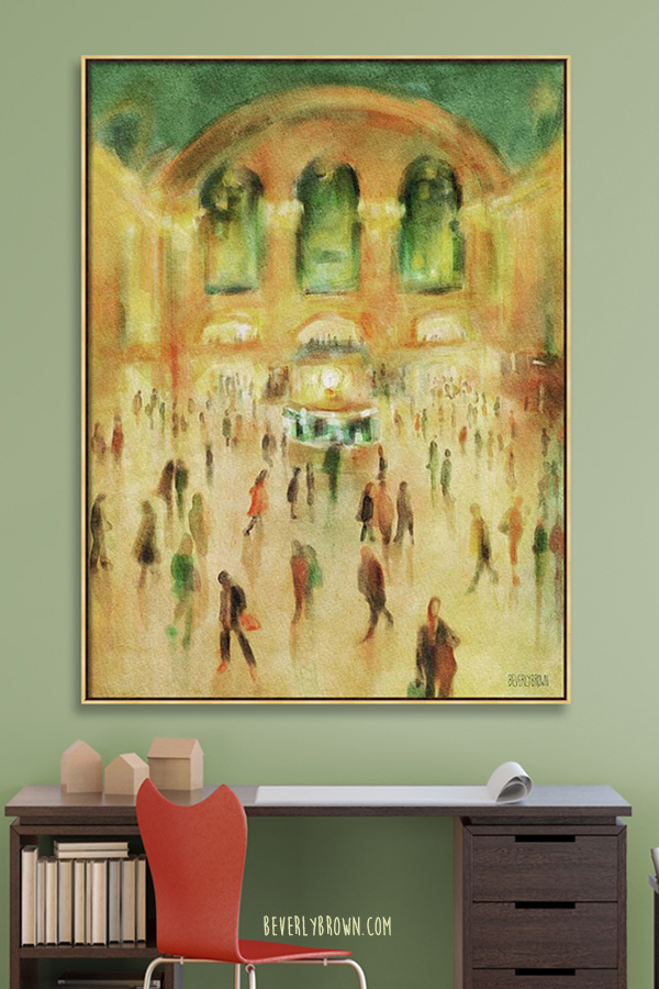 Rush Hour Grand Central New York painting over a desk in a home office.