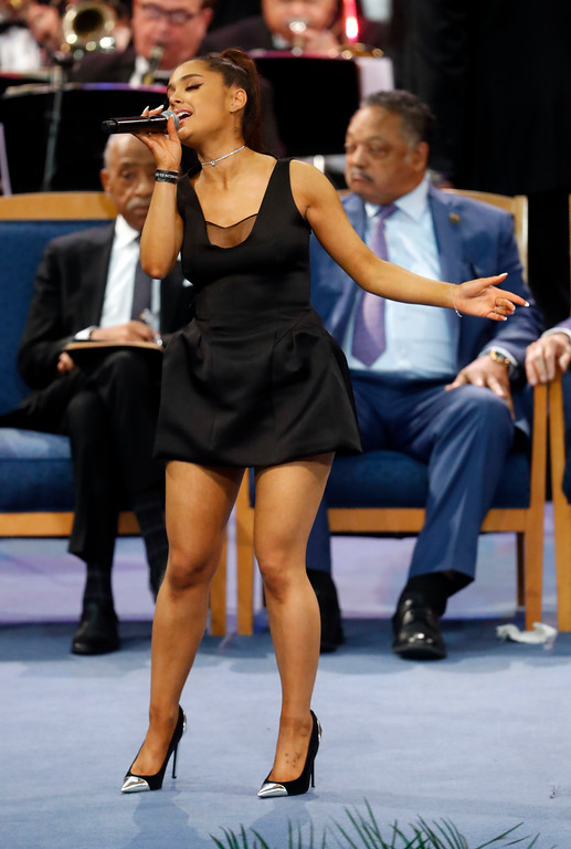 . Ariana Grande performs during the funeral service for Aretha Franklin at Greater Grace Temple, Friday, Aug. 31, 2018, in Detroit. Franklin died Aug. 16, 2018 of pancreatic cancer at the age of 76. (AP Photo/Paul Sancya)